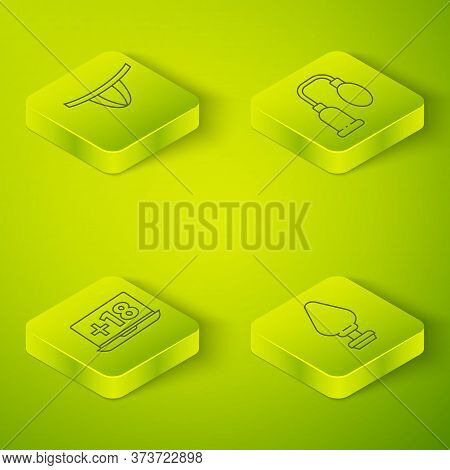 Set Isometric Penis Pump, Laptop With 18 Plus Content, Anal Plug And Woman Panties Icon. Vector