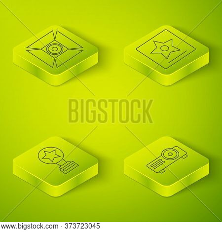 Set Isometric Hollywood Walk Of Fame Star, Movie Trophy, Movie, Film, Media Projector And Movie Spot