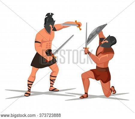 Ancient Romans Warrior Battle Scene. Gladiators Fighting Isolated On White. Armed Roman Legions In T