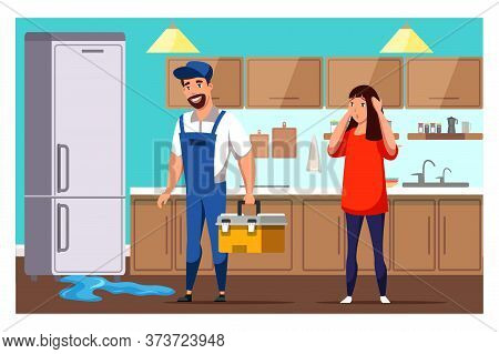 Housewife And Repairman With Tools Box On Kitchen Near Broken Fridge. Leakage On Floor. Home Applian