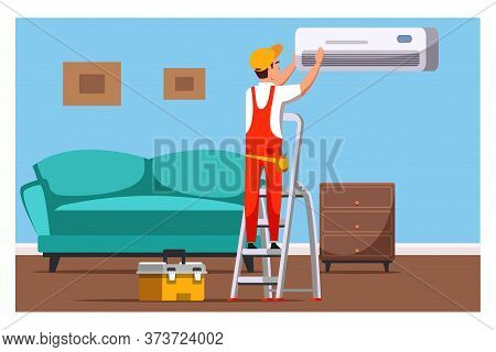 Professional Air Conditioners Service, Maintenance, Installation And Repair. Cartoon Master Electric