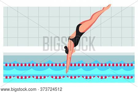 Young Sportswoman In Swimsuit Jumping In Flat Cartoon Pool. Diving Swimming Competition. Swimmer Tak