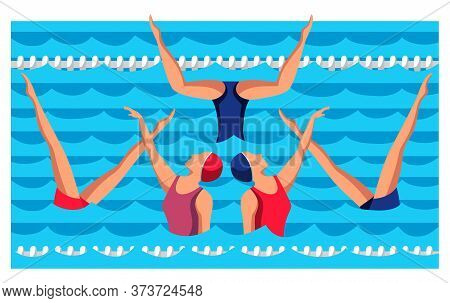 Woman Athlete On Synchronized Swimming Performance In Gym Pool. Girls Team Performing Art Elements A