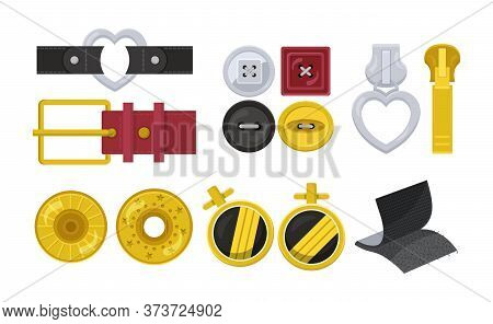 Clasps Design Elements Flat Set Isolated On White. Carabiner, Hook Or Snap For Bag, Belt. Buckle Lea