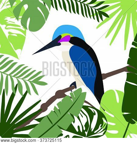 Vector Illustration Of A Tropical Background. Hummingbird, Tropical Palm Leaves. Wall Decal, Decor I