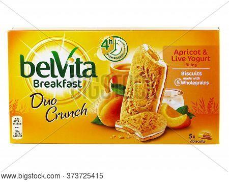 Bucharest, Romania - April 7, 2016. Belvita Breakfast Duo Crunch, Apricot And Live Yogurt Filling, B