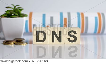Dns Word Letters On Wooden Blocks With Coins. Business Concept.