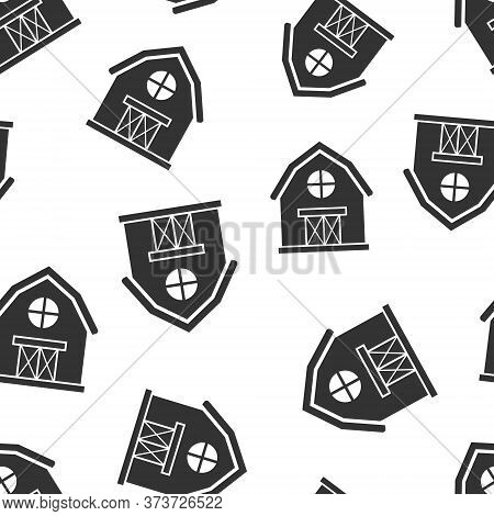 Barn Icon In Flat Style. Farm House Vector Illustration On White Isolated Background. Agriculture St