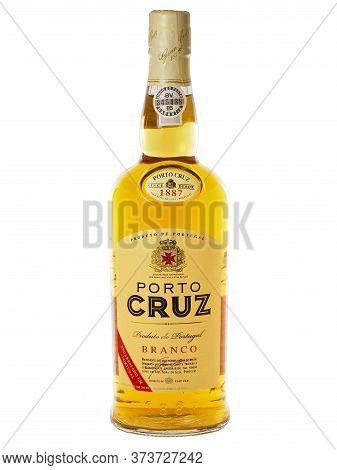 Bucharest, Romania - March 16, 2015. Bottle Of Porto Cruz White Port Wine. White Port Is One Of The
