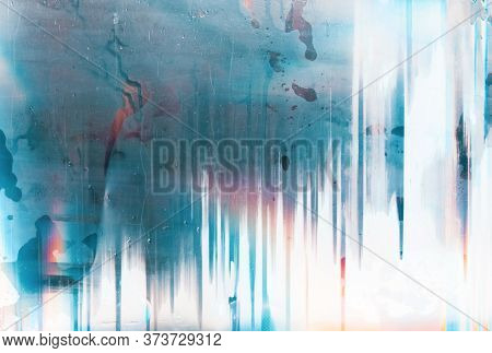 Color Abstract Background. Steamed Glass. Water Drip On Blue Distressed Screen With Glitch Defect.