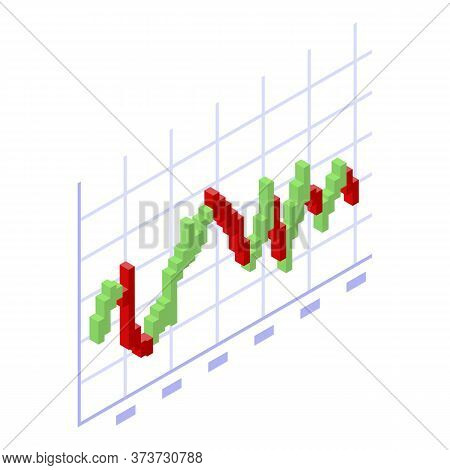 Trader Red Green Graph Icon. Isometric Of Trader Red Green Graph Vector Icon For Web Design Isolated