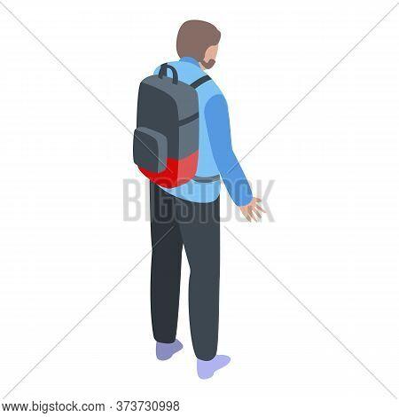 Boy Backpack Emigration Icon. Isometric Of Boy Backpack Emigration Vector Icon For Web Design Isolat