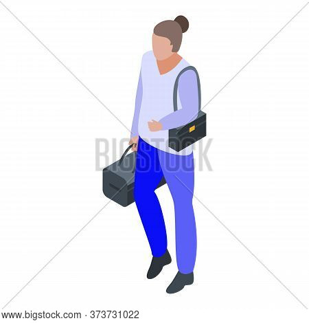 Woman Climate Immigrant Icon. Isometric Of Woman Climate Immigrant Vector Icon For Web Design Isolat