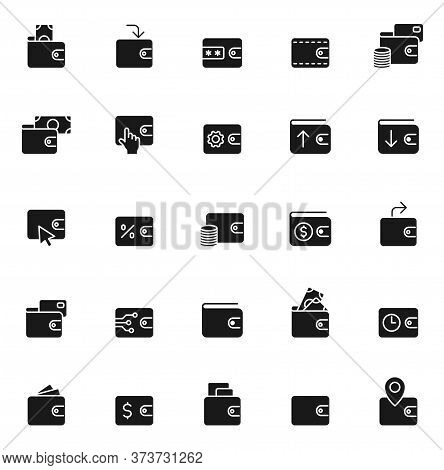 Wallet Black Vector Icons Isolated On White Background. Wallet Icon Set For Web And Ui Design, Mobil