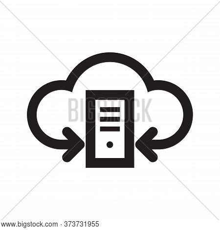 Server Computer Cloud Hosting Icon Design. Computing Technology Sign. Network Connection Symbol. Dat