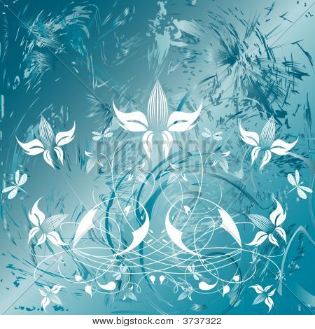 Decorative flowers on abstract background vector illustration. Please see some similar pictures from my portfolio. poster