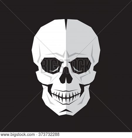 Skull Sign Vector Illustration. Sceleton Death Concept Logo. Danger Virus Symbol. Halloween Jolly Ro