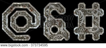 Mechanical alphabet made from rivet metal with gears on black background. Set of symbols at, ampersand and hash. 3D rendering
