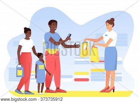 The Afro American Family Makes Purchases From The Seller In The Store. Dad Pays With A Card For The