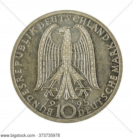 10 German Mark Coin Special Edition (1995) Reverse Isolated On White Background