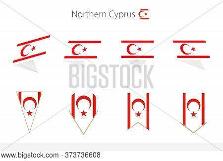 Northern Cyprus National Flag Collection, Eight Versions Of Northern Cyprus Vector Flags. Vector Ill