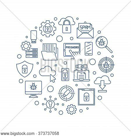 Cybersecurity Vector Circular Concept Minimal Illustration In Outline Style