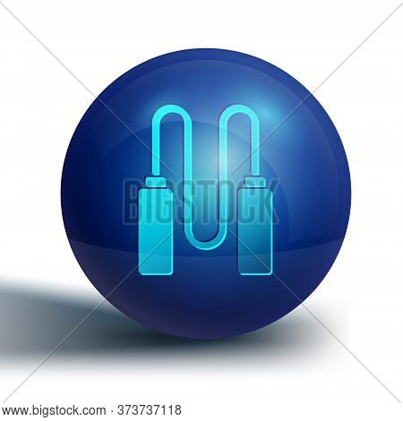 Blue Jump Rope Icon Isolated On White Background. Skipping Rope. Sport Equipment. Blue Circle Button