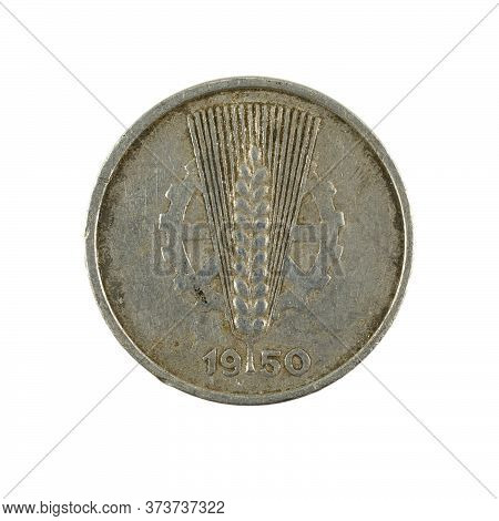 Historic 5 East German Pfennig Coin (1950) Reverse Isolated On White Background