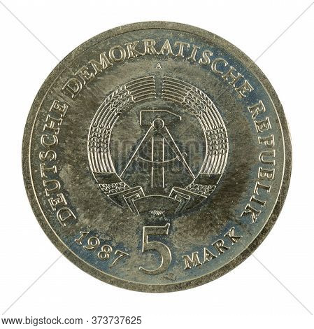 Historic 5 East German Mark Coin Special Edition(1969) Obverse Isolated On White Background