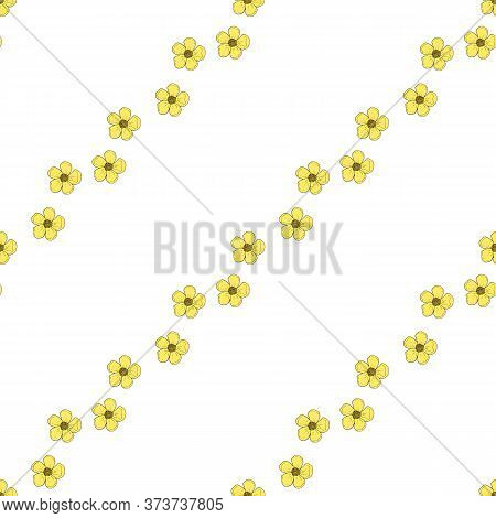 Seamless Pattern With Kawaii Yellow Buttercups On White Background For Fabric, Textile, Clothes, Tab