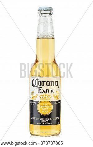 Ukraine, Kyiv - June 03, 2020: Photo Of Corona Extra Beer Bottle   Isolated On White Background. Cor
