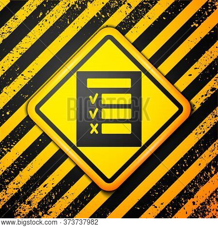 Black Car Inspection Icon Isolated On Yellow Background. Car Service. Warning Sign. Vector Illustrat