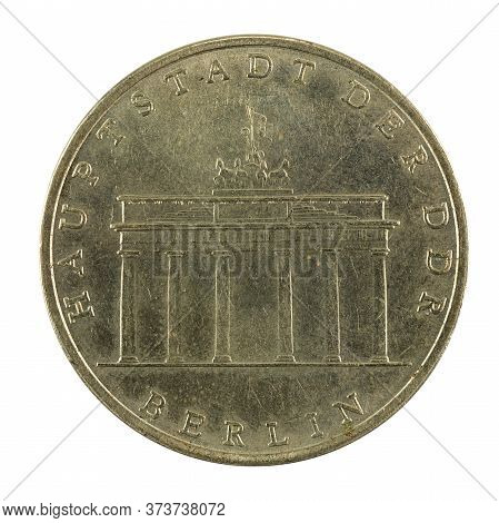 Historic 5 East German Mark Coin Special Edition(1971) Reverse Isolated On White Background