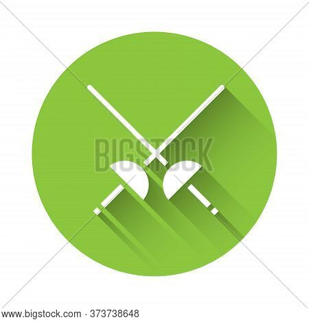 White Fencing Icon Isolated With Long Shadow. Sport Equipment. Green Circle Button. Vector Illustrat