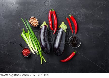 Sticky Teriyaki Aubergine Ingredients, For Cooking Or Grill Chili Pepper, Eggplant, Sauce, Nuts On B