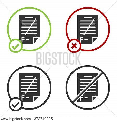 Black Exam Paper With Incorrect Answers Survey Icon Isolated On White Background. Bad Mark Of Test R