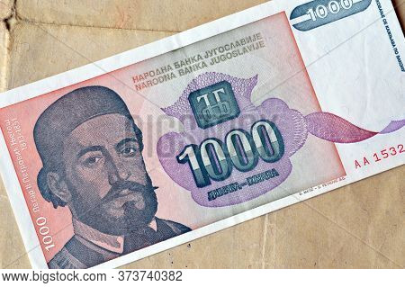 Obverse Of 1.000 Dinars Paper Bill Issued By Yugoslavia, That Shows Portrait Of Prince Petar Petrovi