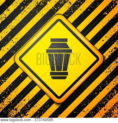 Black Garden Light Lamp Icon Isolated On Yellow Background. Solar Powered Lamp. Lantern. Street Lamp