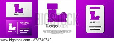 Logotype Waterproof Rubber Boot Icon Isolated On White Background. Gumboots For Rainy Weather, Fishi