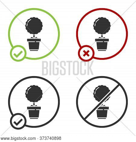 Black Plant In Pot Icon Isolated On White Background. Plant Growing In A Pot. Potted Plant Sign. Cir