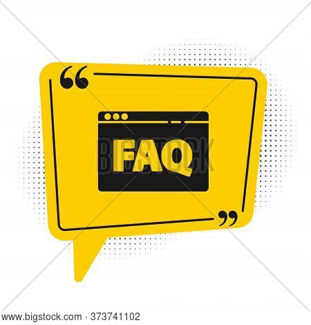 Black Browser Faq Icon Isolated On White Background. Internet Communication Protocol. Yellow Speech