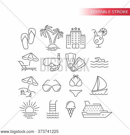 Summer Travel, Vacation Or Holiday Vector Icon Set. Beach, Hotel, Palm Tree, Swimsuit Summer Tourism