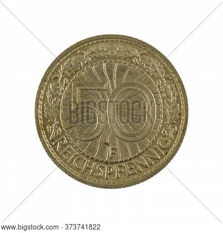 50 German Reichspfennig Coin (1929) Obverse Isolated On White Background