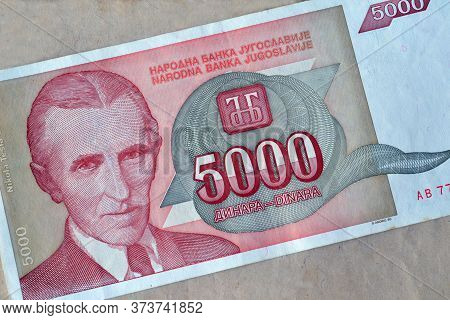 Obverse Of 5.000 Dinars Paper Bill Issued By Yugoslavia, That Shows Portrait Of Scientist Nikola Tes