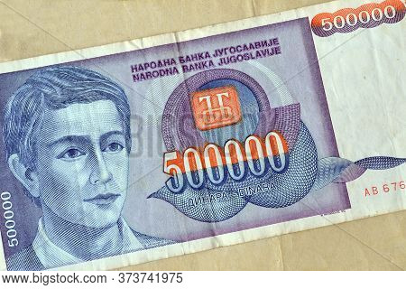 Obverse Of 500.000 Dinars Paper Bill Issued By Yugoslavia, That Shows Portrait Of Young Man