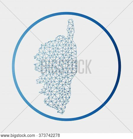 Corsica Icon. Network Map Of The Island. Round Corsica Sign With Gradient Ring. Technology, Internet