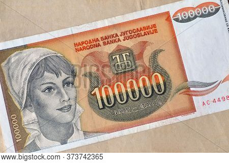 Obverse Of 100.000 Dinars Paper Bill Issued By Yugoslavia, That Shows Portrait Of Young Girl