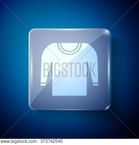 White Sweater Icon Isolated On Blue Background. Pullover Icon. Square Glass Panels. Vector Illustrat