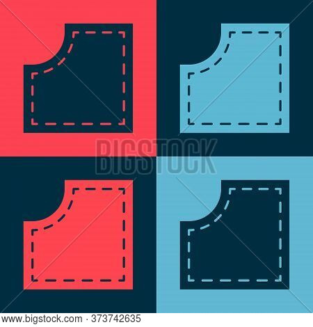 Pop Art Sewing Pattern Icon Isolated On Color Background. Markings For Sewing. Vector Illustration