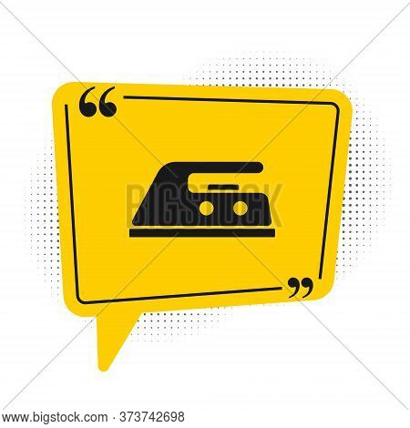 Black Electric Iron Icon Isolated On White Background. Steam Iron. Yellow Speech Bubble Symbol. Vect